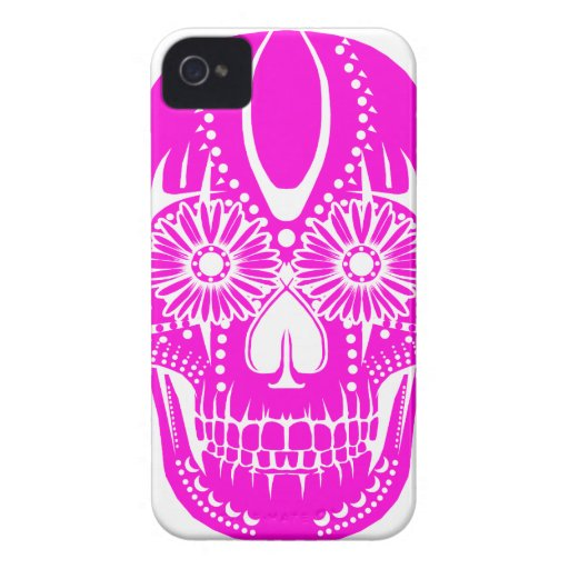 Day of the Dead Pink Skull iPhone 4 Covers