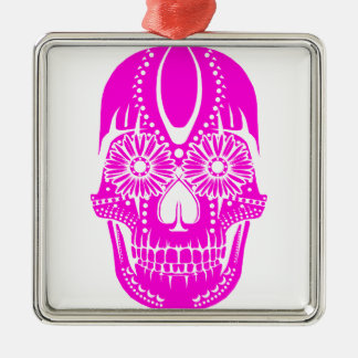 Day of the Dead Pink Skull Christmas Tree Ornaments