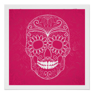 Day of the Dead Pink Skull Poster