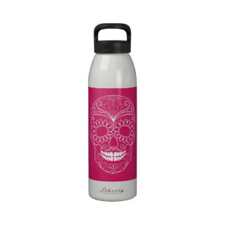 Day of the Dead Pink Skull Water Bottle