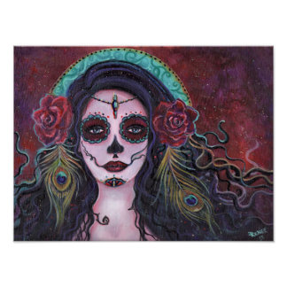 Day of the dead poster with peacock feathers