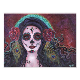 Day of the dead print with peacock feathers photo print