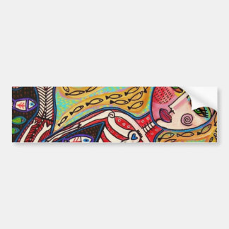 Day Of The Dead Red Skeleton Mermaid Bumper Sticker