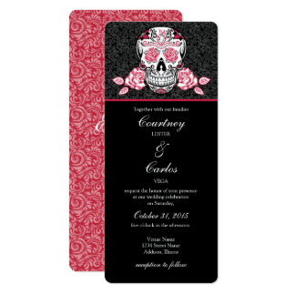 Day of the Dead Red Sugar Skull Wedding Invitation