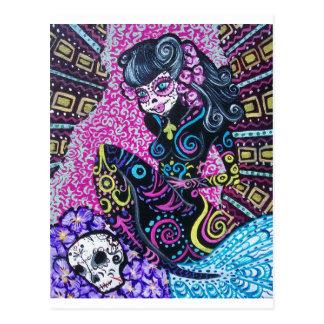 Day of the Dead Retro Mermaid Postcard