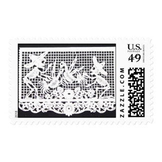 Day of the Dead - Skeletons and Roosters Stamp