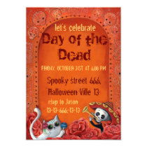 Day of The Dead Skeletons El Mariachi Band Invites