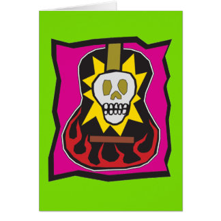 Day of the Dead Skul Guitar Green w/Purple Card