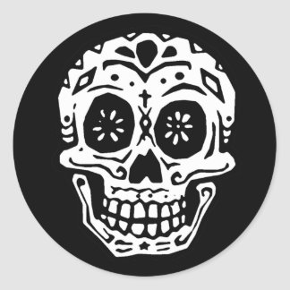 Day Of The Dead Skull 2 Round Stickers