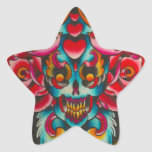 Day of the Dead Skull and Birds Star Sticker