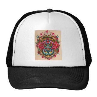 Day of the Dead Skull and Birds Trucker Hat