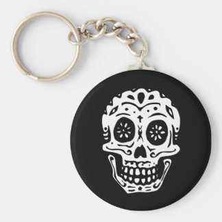 Day Of The Dead Skull-Black Keychain