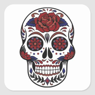 Day of the dead skull burgundy and blue on white