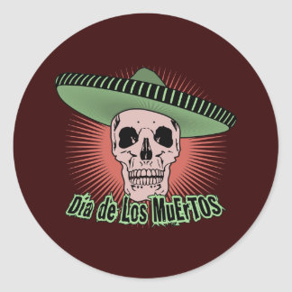 Day Of The Dead Skull Classic Round Sticker