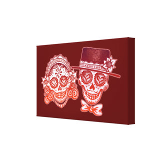 Day of the Dead Skull Couple Canvas Print