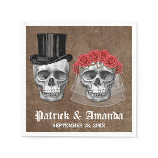 Day of the Dead Skull Couple Goth Wedding Napkins