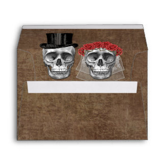 Day of the Dead Skull Couple Gothic Wedding Envelope