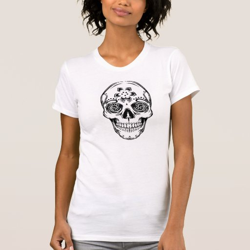 """""""DAY OF THE DEAD SKULL"""" Destroyed Fitted Tee"""