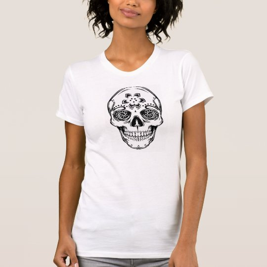 """DAY OF THE DEAD SKULL"" Destroyed Fitted Tee"