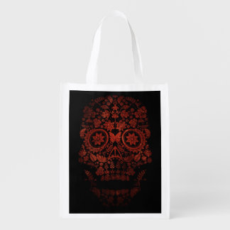 Day of the dead skull grocery bag