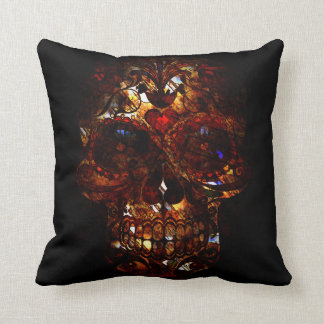 Day of the Dead Skull Grunge Mask Throw Pillow