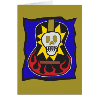 Day of the Dead Skull Guitar Gold w/Blue Card