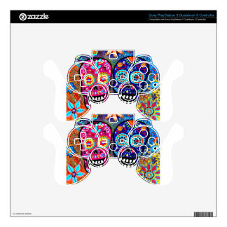 Day of the Dead Skull Heads Decal For PS3 Controller