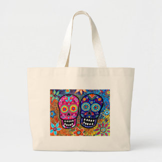 Day of the Dead Skull Heads Large Tote Bag