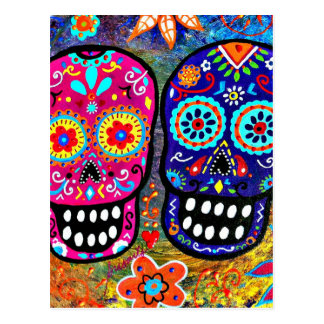 Day of the Dead Skull Heads Postcard