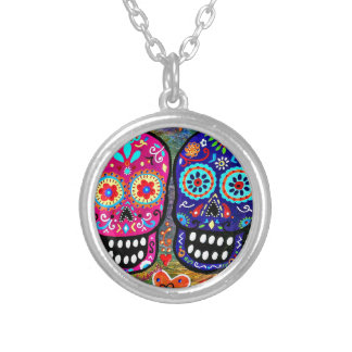 Day of the Dead Skull Heads Round Pendant Necklace