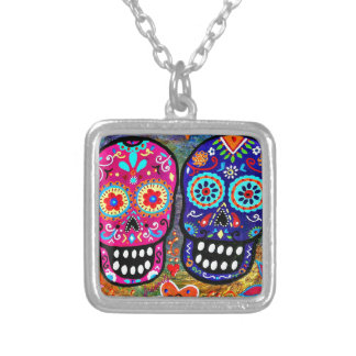 Day of the Dead Skull Heads Square Pendant Necklace