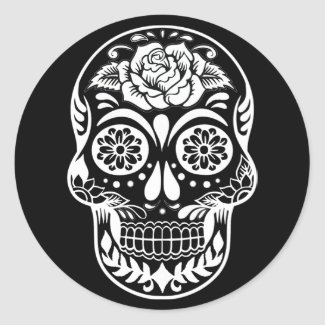 Day of the dead skull in modern black and white