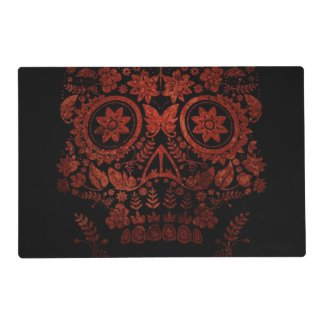 Day of the dead skull laminated placemat