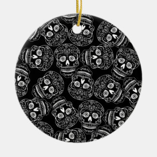 Day of the Dead Skull Pattern in Black and White Ceramic Ornament