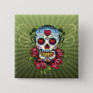 Day of the Dead Skull Pinback Button