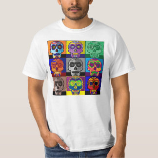 Day of the Dead Skull Pop Art T Shirts
