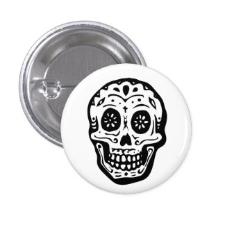 Day Of The Dead Skull-White Pinback Button
