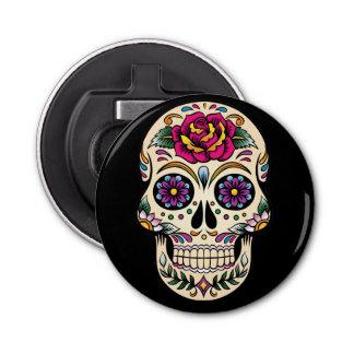 Day of the Dead Skull with Rose Bottle Opener