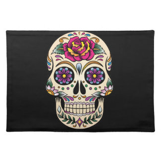 Day of the Dead Skull with Rose Cloth Placemat