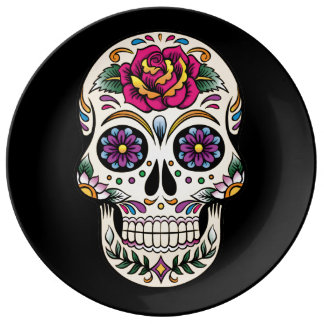 Day of the Dead Skull with Rose Dinner Plate