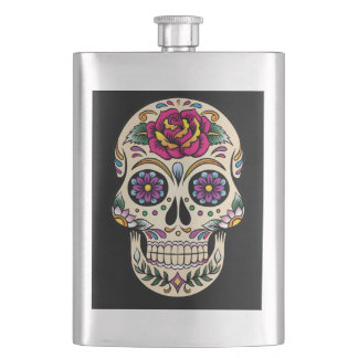 Day of the Dead Skull with Rose Flask