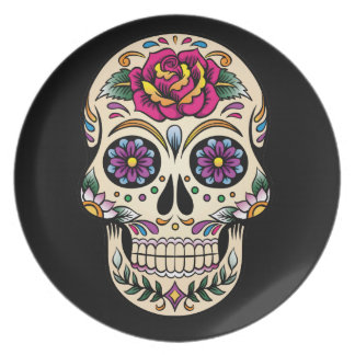 Day of the Dead Skull with Rose Melamine Plate