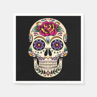 Day of the Dead Skull with Rose Paper Napkin