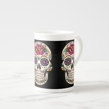 BlackBrookDining Day of the Dead Skull with Rose Tea Cup