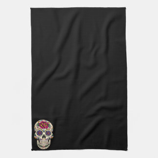 Day of the Dead Skull with Rose Towel
