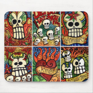 Day of the Dead Skulls / Flaming Heart Mousepad