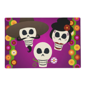 Day Of The Dead Skulls Laminated Place Mat