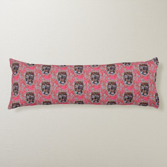 Day Of The Dead Skulls Pink Balloons Pattern Body Pillow