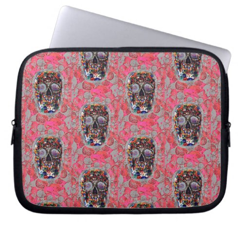 Day Of The Dead Skulls Pink Balloons Pattern Computer Sleeve