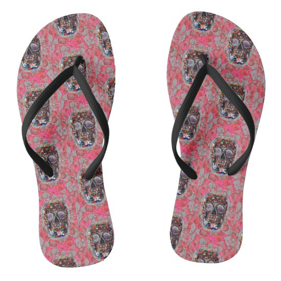 Day Of The Dead Skulls Pink Balloons Pattern Flip Flops